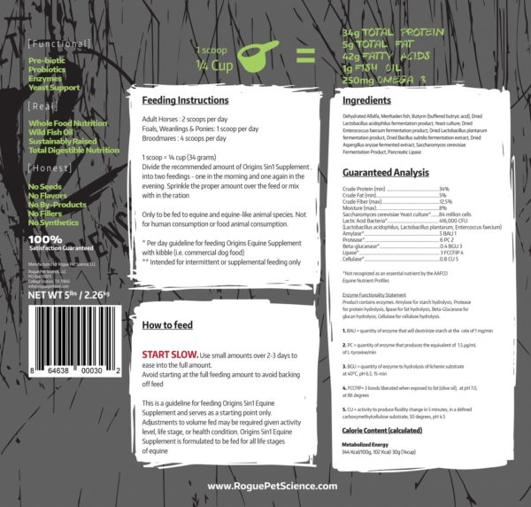 Feeding Instructions on Origins Equine 5 in 1 Label