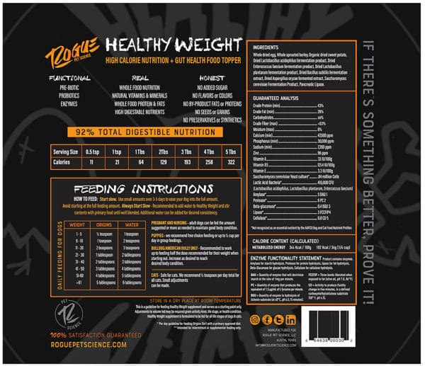 Healthy Weight Back Panel